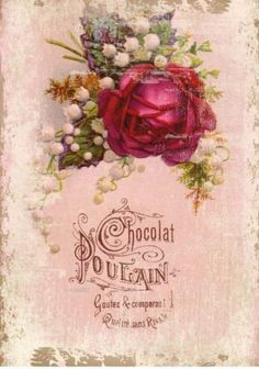 Chocolat Poulain is one of the oldest chocolate brands in France. Ad with rose on pink