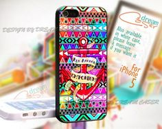 Red Anchor with Aztec - Print On Hard Case iPhone 5 Case