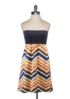 Judith March - Navy Zigzag Tube Dress