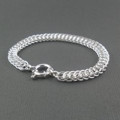 Half Persian 4 in 1 Sterling Silver Chainmaille Bracelet - Chunky Bracelet - Silver Bracelet - Chain Jewellery - Handmade Bracelet.