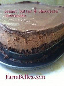 Recipe for melt in your mouth, no-bake, peanut butter & chocolate cheesecake. No eggs, so if you can't wait for it to chill, just lick the bowl clean. And the spoon.