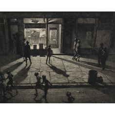 Drypoint by Martin Lewis - Spring Night, Greenwich Village - The velvety shadows were achieved by using drypoint through a textured ground obtained by pressing sandpaper on the copper plate