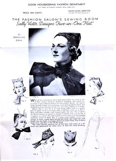RARE 1930s ART DECO Sally Victor Designs FIVE in ONE HAT Pattern Good HouseKeeping Fashion Salon Sewing Room Wrap Around Turban and Scarf Vintage Sewing Pattern UNCUT