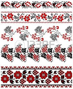 illustrations of ukrainian embroidery ornaments, patterns, frames and borders. Stock Vector - 8877447