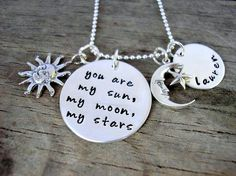 Sun, Moon and Stars Personalized Necklace - Sterling Silver Mother's Necklace
