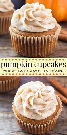 Pumpkin cupcakes with cinnamon cream cheese frosting Pecan Desserts, Mini Desserts, Holiday Desserts, Chocolate Desserts, Cinnamon Desserts, Healthy Desserts, Halloween Desserts, Halloween Cupcakes, Party Desserts