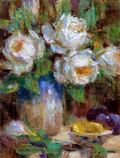 Lemon Slices and White Roses, painting by artist Julie Ford Oliver
