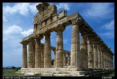 Ruins of Tempio di Cerere (Temple of Ceres), a Greek Doric temple. Campania, Italy
