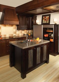 Milan Oak, Sienna, and Vienna Maple, Espresso Wellborn Cabinet