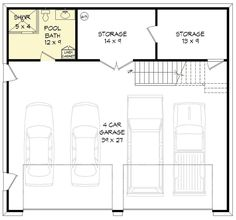 4 car tandem garage with man cave above 68466vr for Man cave floor plans