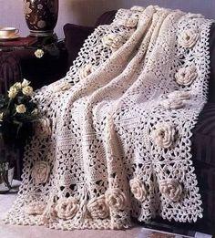 Crochet Roses FREE Crochet Afghan Pattern - Roses Remembered Free via ravelry media. Crochet Afghans, Motifs Afghans, Crochet Bedspread, Afghan Crochet Patterns, Crochet Squares, Crochet Blankets, Granny Squares, Baby Afghans, Crochet Tablecloth