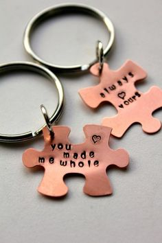 Puzzle Piece Keychain Personalized Valentines Day Gift ...