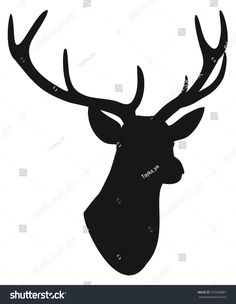 Deer head silhouette isolated on white background. Hirsch Silhouette, Deer Head Silhouette, Illustrations, Moose Art, Photos, Images, Logo, Animals, Decor