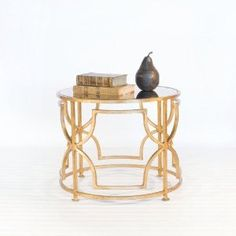 Geometric, gold leaf end table. Living room?