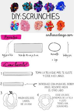 How to make scrunchies - DIY hair ties tutorial - Melly Sews Diy Hair Scrunchies, How To Make Scrunchies, Sewing Crafts, Sewing Projects, Sewing Tutorials, Sewing Ideas, Diy Crafts, Create Kids Couture, Diy Donuts