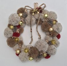 Handmade pompom wreath on a 12 frame, decorated with gold baubles and wooden reindeer Holiday Wreaths, Christmas Crafts, Christmas Ornaments, Wreath Crafts, Diy Wreath, Wooden Reindeer, Pom Pom Wreath, Christmas Inspiration, Craft Studios