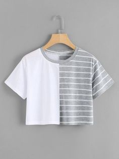 - contrast striped crop t Girls Fashion Clothes, Teen Fashion Outfits, Mode Outfits, Outfits For Teens, Cute Girl Outfits, Cute Casual Outfits, Pretty Outfits, Stylish Outfits, Vetement Fashion