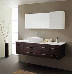 """Bathroom Vanity With Mirror vigo 44"""" single bathroom vanity with mirror and shelves - black"""