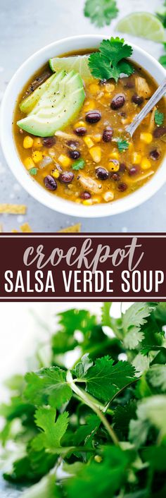 This healthy crockpot salsa verde chicken soup is mega flavorful and takes less than 10 minutes prep! | chelseasmessyapron.com