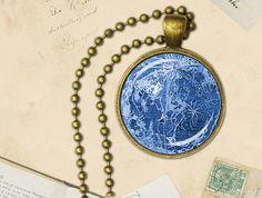 Blue Moon Necklace Pendant, Blue Moon Pendant