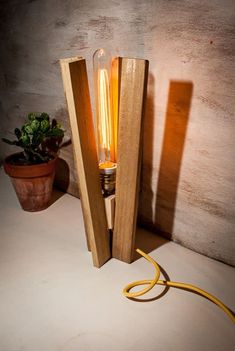 Vintage Edison Lamp with Wooden Shade #WoodenLamp