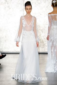Brides.com: . Style 1620, v-neck wedding dress with dimensional floral beading and tone-shadow long box sleeves, Inbal Dror