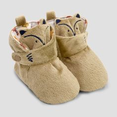 4c001ade8bea86 Baby Boys  Fox Bootie Slippers with Snap - Cat   Jack Brown 6-9M