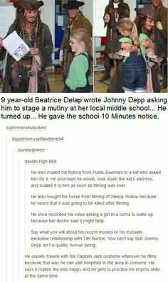 Okay I always say I don't like Johney Depp because of the whole Amber thing! But how can u not love him when you hear things like this! Love always to CAPTAIN Jack Sparrow and his Hat Will Turner, Funny Memes, Hilarious, Jokes, Funny Tweets, Funny Videos, Jack Sparrow Quotes, Jack Sparrow Funny, Pseudo Science