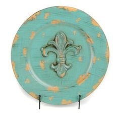 $16.99 $7.97 Distressed Turquoise Fleur-de-lis Charger | Kirklands 12 in--card table with lid--