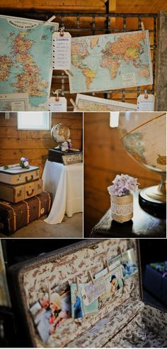 omg love the vintage suitcase and maps. love love. Great travel theme decor.
