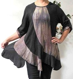 New Plus size top, Plus size tunic, Lagenlook top, High End fabric with details, M L , 1XL,  2XL,  3XL