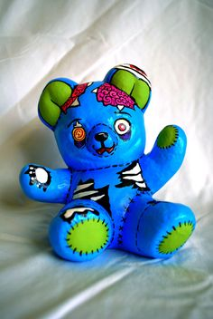 Zombie Ceramic Bear in Blue. $20.00, via Etsy.