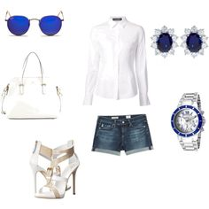 A fashion look from May 2015 featuring white shirt, leather shorts and heeled sandals. Browse and shop related looks. Hello Sunday, Adriano Goldschmied, Giuseppe Zanotti, Ray Bans, Kate Spade, Shoe Bag, My Style, Polyvore, Collection