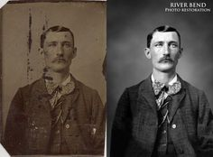 Digital photo restoration - 19th century tintype - Heavy damage repaired, color and tone fixed, and background texture added #photorestoration #photorepair #photography