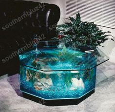 "New Octagon Coffee Table Aquarium 40 Gallon 38"" Complete Set Up Package"