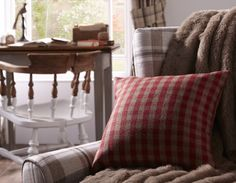 Nairn cushion in Cranberry from Style Studio. Tartan home decor Home Decor Inspiration, Design Inspiration, Highland Homes, Inspired Homes, Cosy, Tartan, Tweed, Cushions, Interiors
