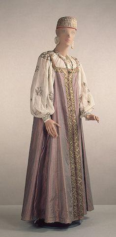 Russian Maiden's Sarafan, silk, taffeta, muslin, silver, metalic thread, ca. 1800