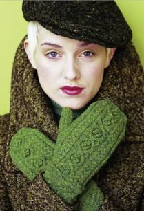 'green autumn' mittens by brooklyn tweed. photo from vogue knitting.