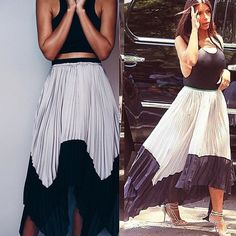Pleated midi skirt gray/black Uneven,pointed hems. Pleated. No zipper. Elastic waistband.  Brand new. Firm price otherwise available at the online shop www. shophouseofolympia .com. It's on sale for less there. Model wears size S House of Olympia Skirts Maxi