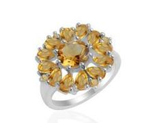 4CTW Genuine high finish citrine in 925 sterling silver ring