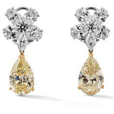 Rosendorff Golden Collection Fancy Yellow Diamond Tear Drop Earrings