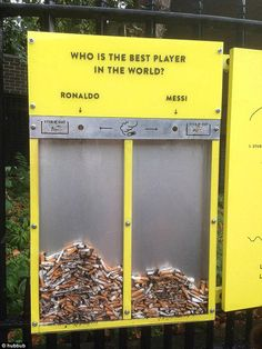 One of the easiest ways to reduce littering is by making throwing something away more fun than tossing it on the ground. Using that logic, Hubbub is seeking to make cigarette butts into a way to vote in lighthearted surveys on the street. Design Campaign, Brand Campaign, Campaign Ideas, Interactive Exhibition, Interactive Installation, Interactive Art, Trash Can Ideas, Recycling Programs, Recycling Bins