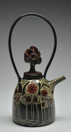 By Marcy Neiditz Ceramic Art Pottery Teapots, Teapots And Cups, Ceramic Teapots, Ceramic Cups, Ceramic Pottery, Pottery Art, Ceramic Art, Pottery Ideas, Tee Kunst