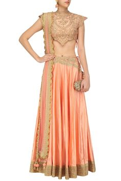 Peach zari and dori embroidered lehenga set available only at Pernia's Pop Up Shop. #happyshopping #shopnow #ppus