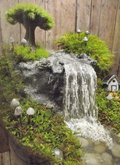 Amazing Huge Waterfall Terrarium with Raku Fired Miniature House, Tree, and glow in the dark Mushrooms - OOAK Handmade by Gypsy Raku - Garden \ Terrarium II wedding Terrarium succulentes Fairy Garden Houses, Garden Art, Garden Design, Garden Waterfall, Christmas Villages, Miniture Things, Front Yard Landscaping, Backyard, Plants