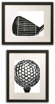 Golf Art Print – hand-carved & printed Golf Ball with Tee x 14 inches) black or custom color Golf Art Print handgeschnitzter & bedruckter Golfball mit Tee 11