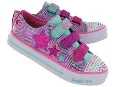 Skechers Girls TWINKLE TOES SHUFFLES TRIPLE UP turq/pink l