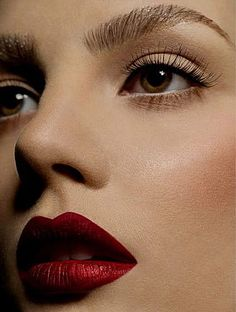 love the red lips and subtle long lashes