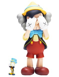 Original Fake KAWS Pinocchio and Jiminy Cricket Toy Set - A Detailed Look