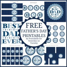Free Father's Day Printables including art, a banner, party circles, cupcake toppers and so much more!